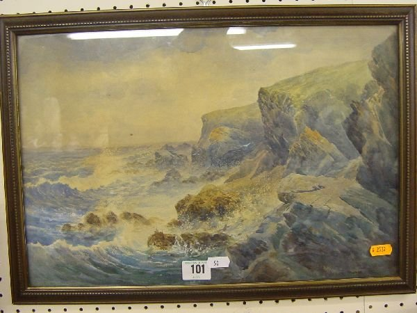 1010: HENRY MOORE watercolour - rocky coastalscape, sig