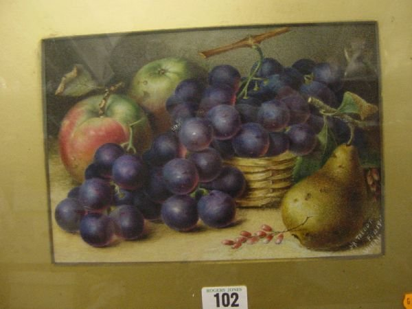 1011: J A TALBOT watercolour - still life fruit, signed