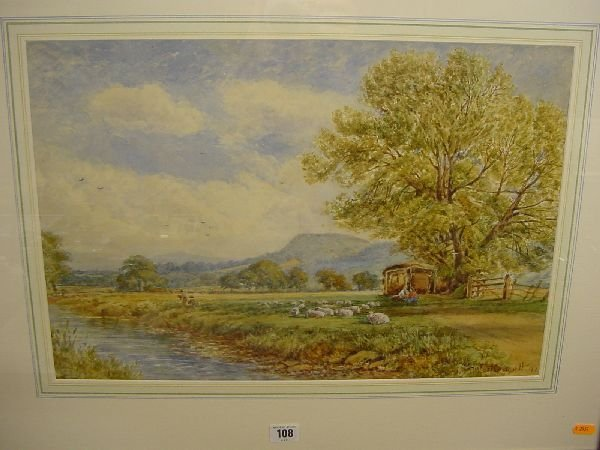 1017: E H WESTMACOTT watercolour - rural scene with fig