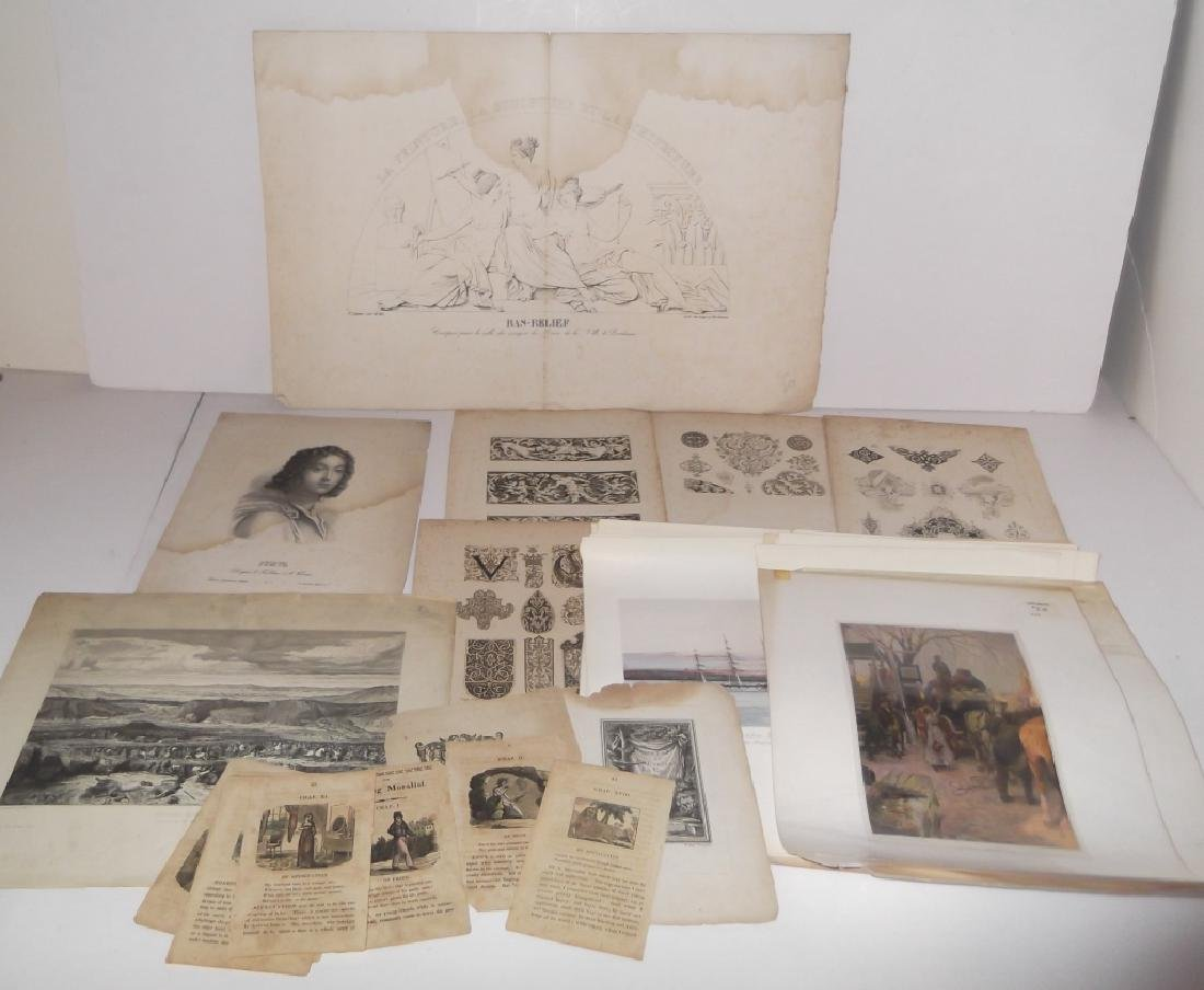 25 antique bookplate engravings/etchings/lithos