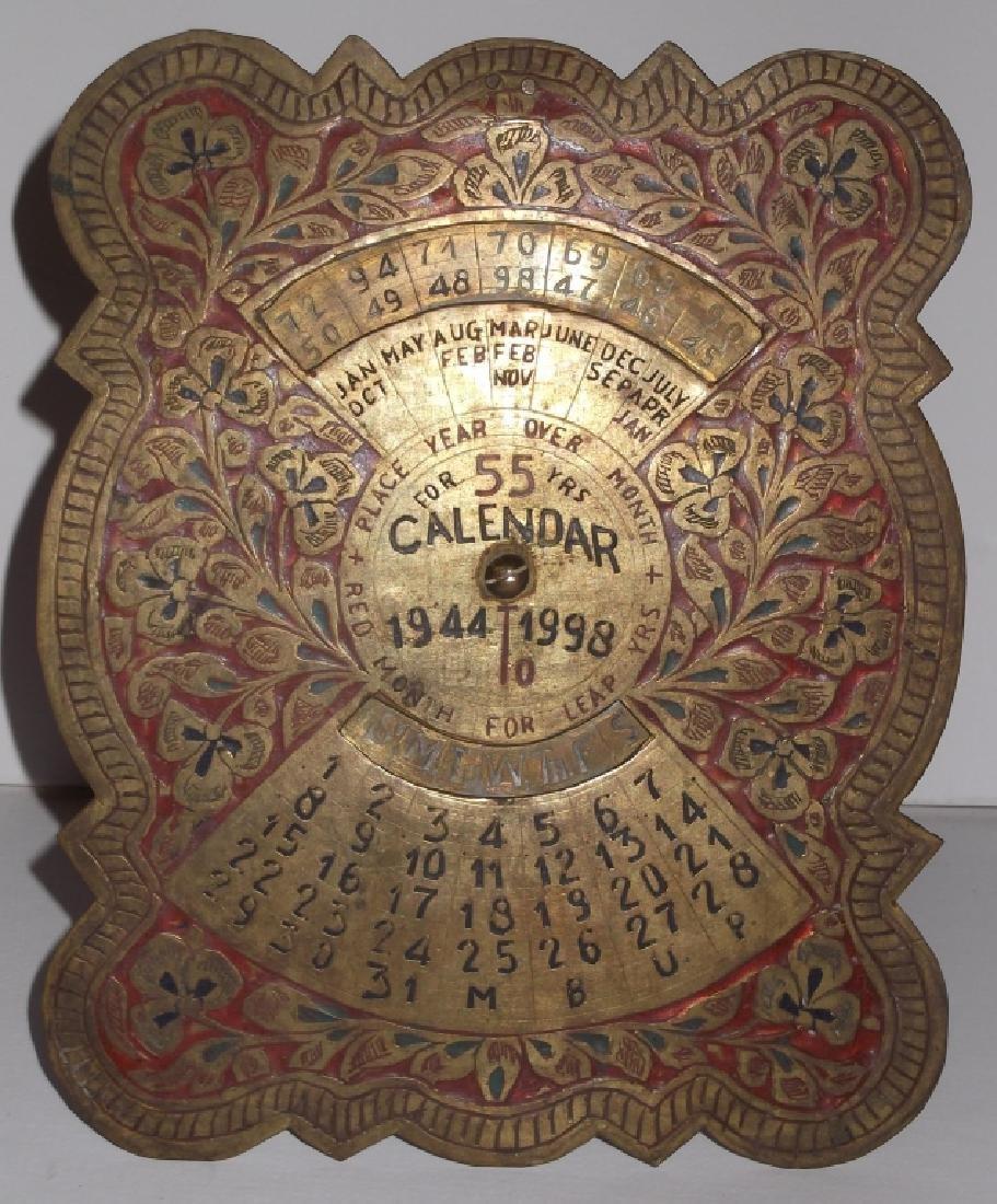 1944-1998 metal standing 55 year ornate calendar