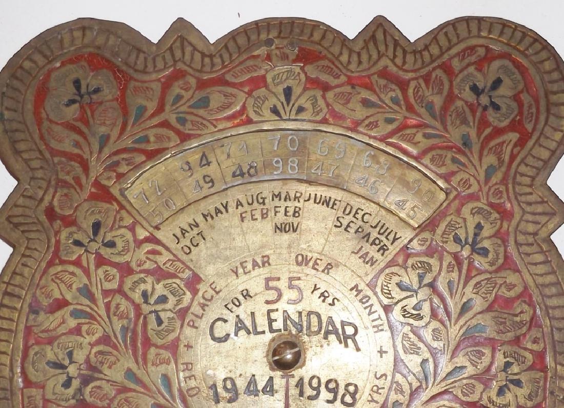 1944-1998 metal standing 55 year ornate calendar - 3