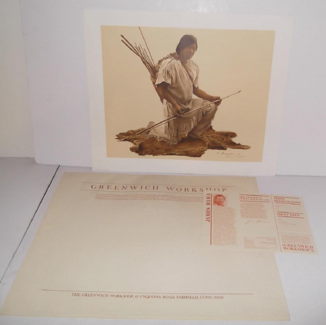 Pre-Columbian Indian with Atlatl lithograph