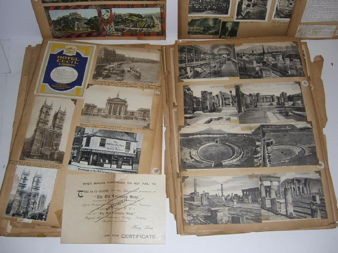 scrapbook foreign postcards; maps; advertisements - 10