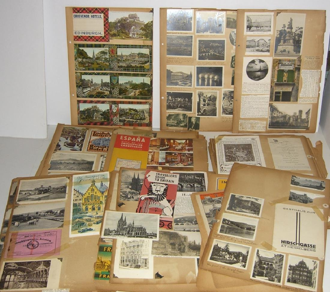 scrapbook foreign postcards; maps; advertisements