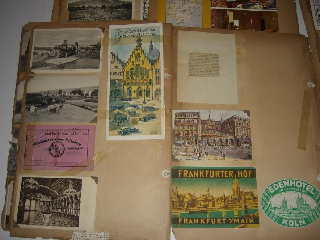 scrapbook foreign postcards; maps; advertisements - 2
