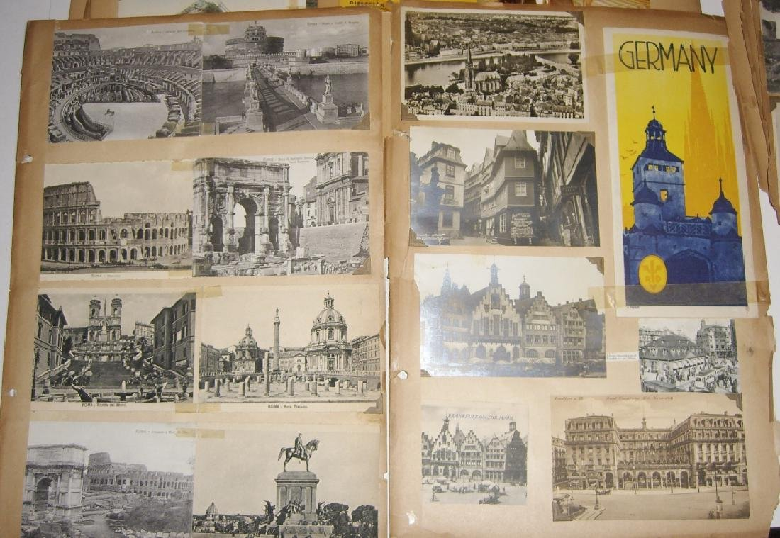 scrapbook foreign postcards; maps; advertisements - 3