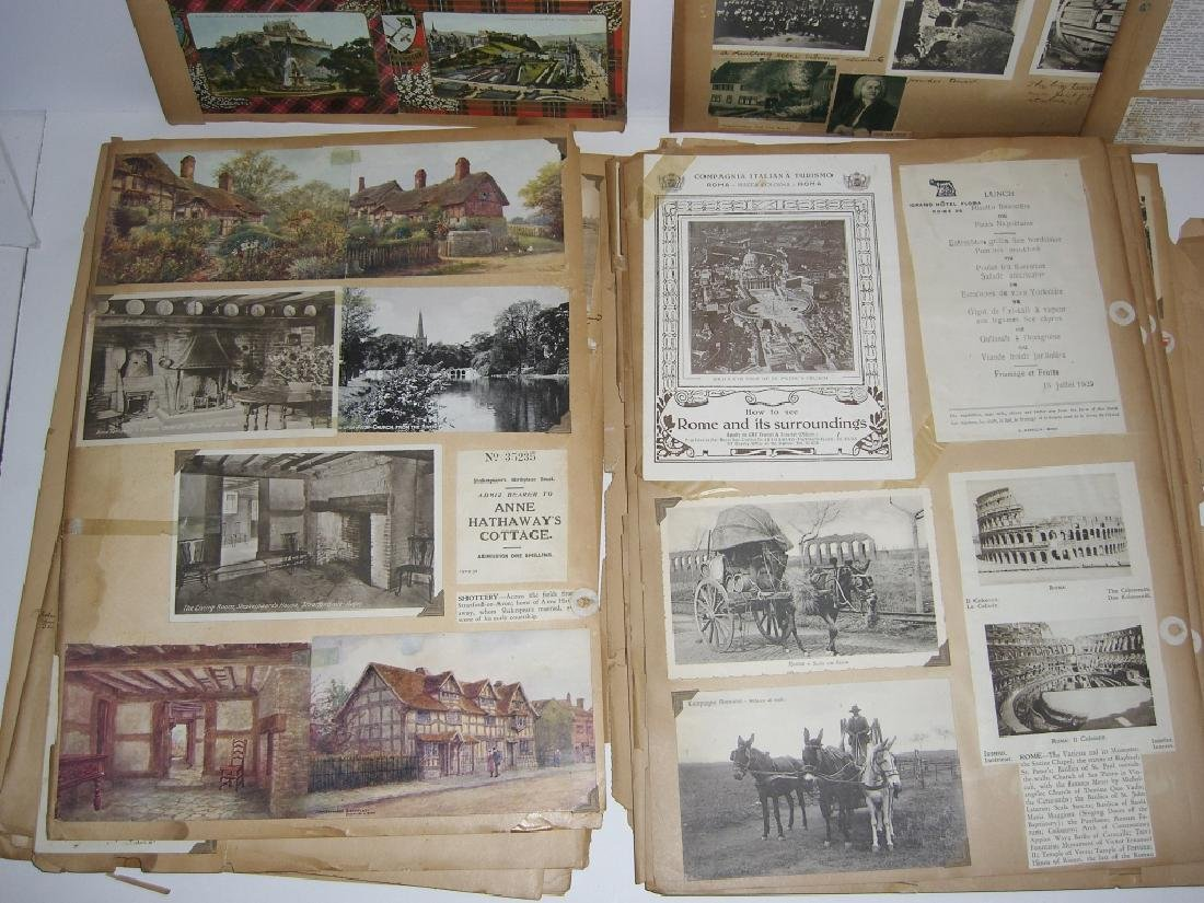 scrapbook foreign postcards; maps; advertisements - 6