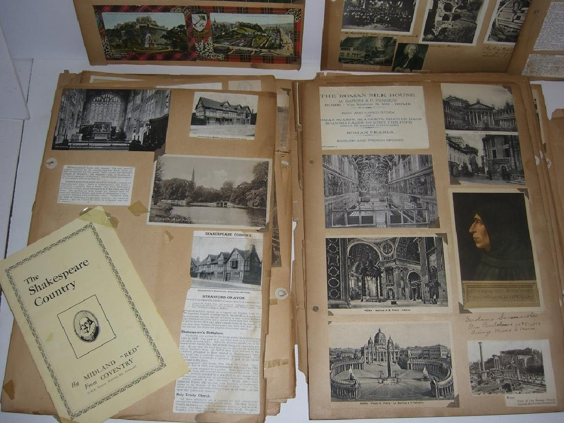 scrapbook foreign postcards; maps; advertisements - 7