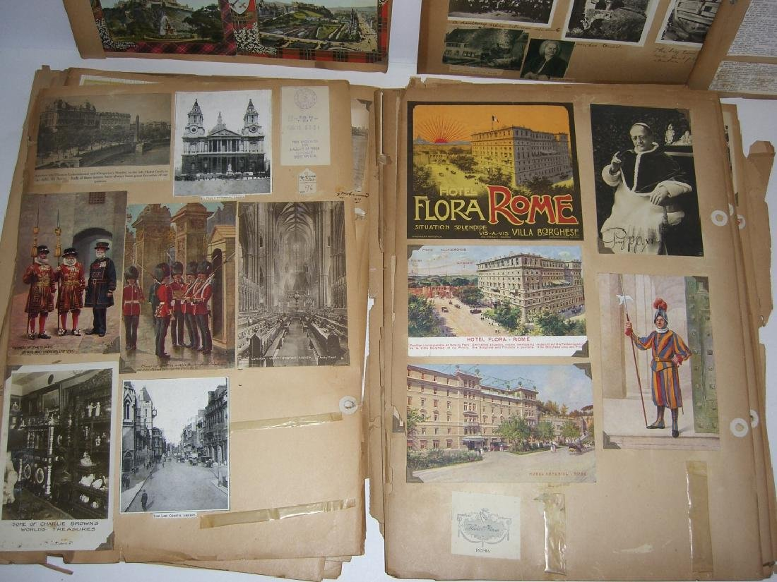 scrapbook foreign postcards; maps; advertisements - 8