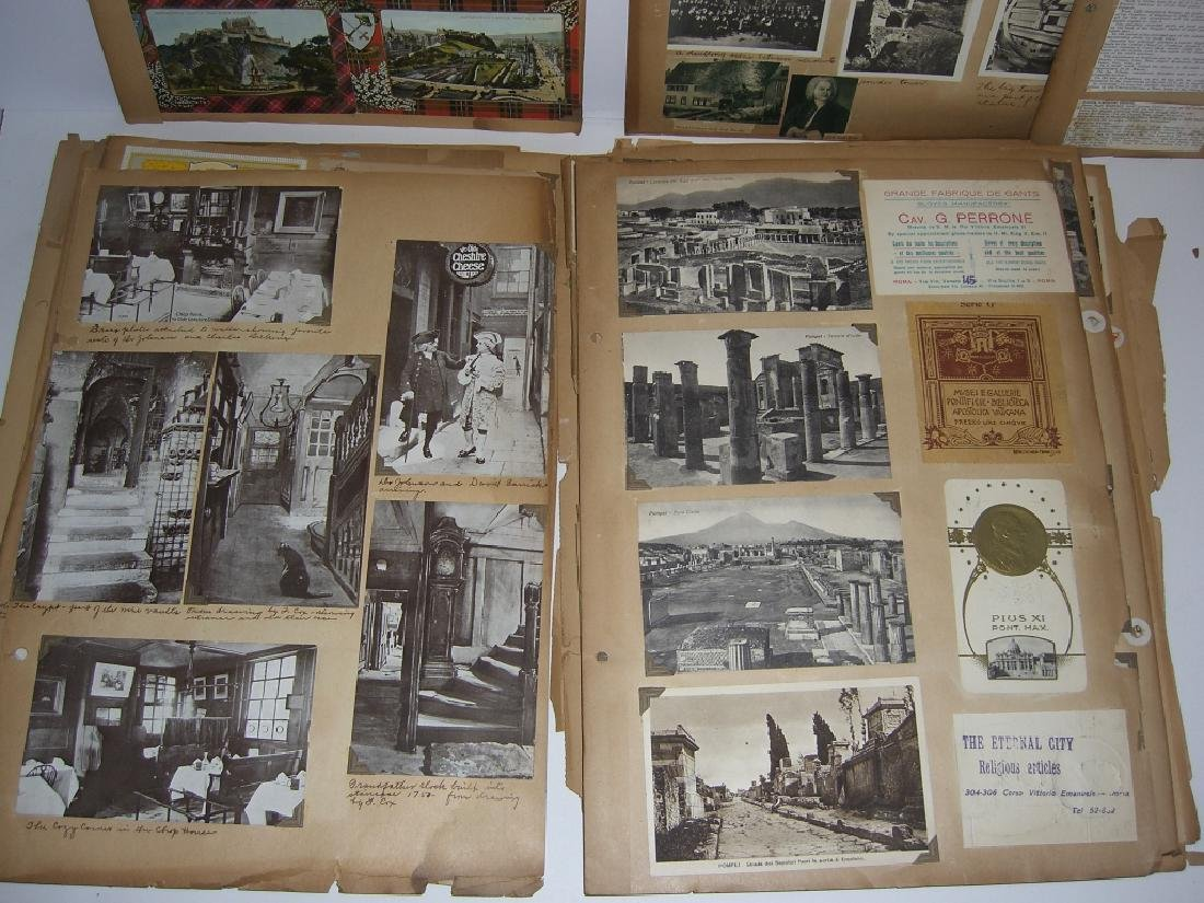 scrapbook foreign postcards; maps; advertisements - 9