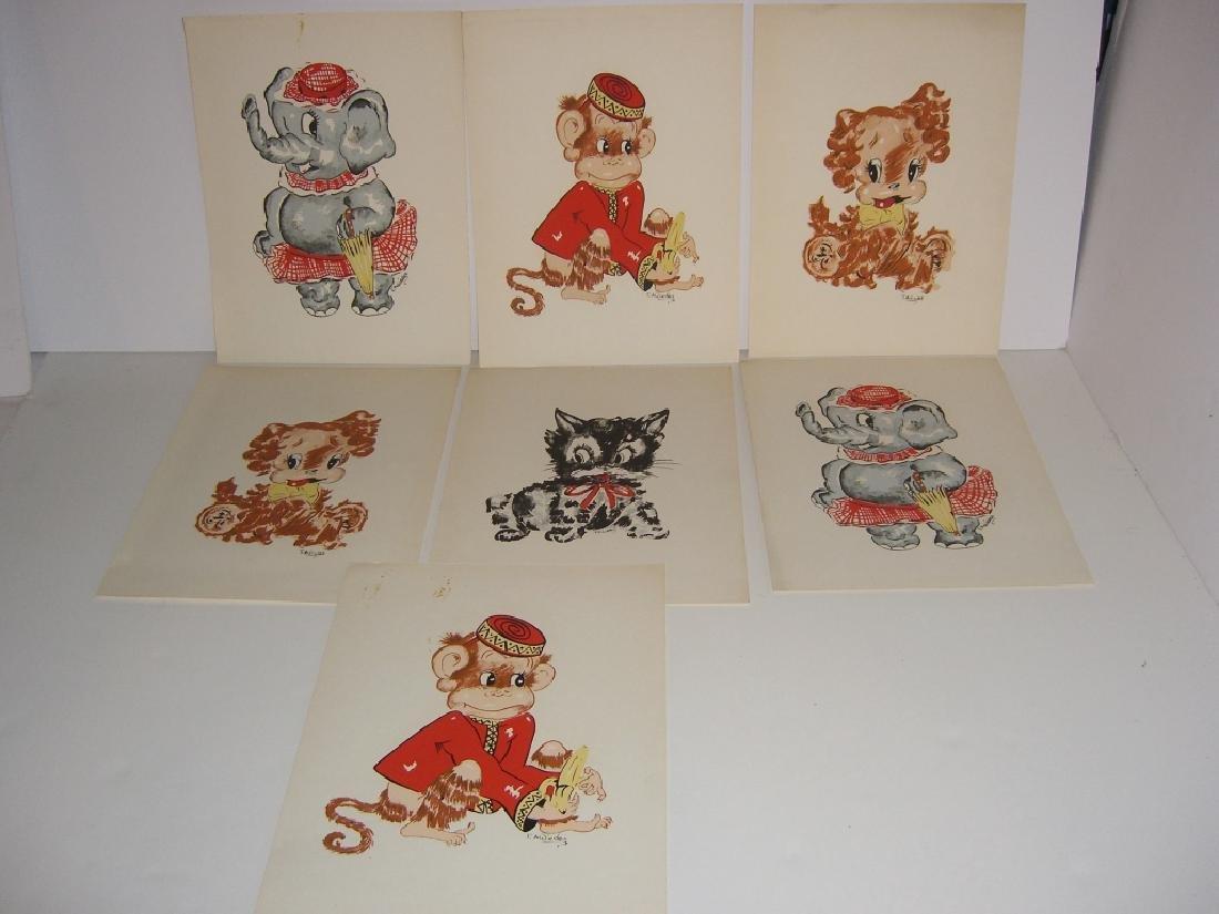 18 original illustrations of children & animals - 5