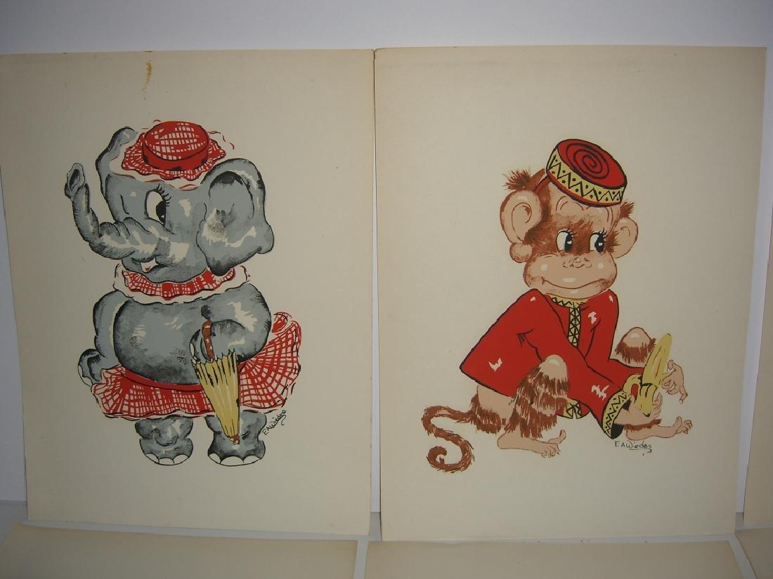 18 original illustrations of children & animals - 8