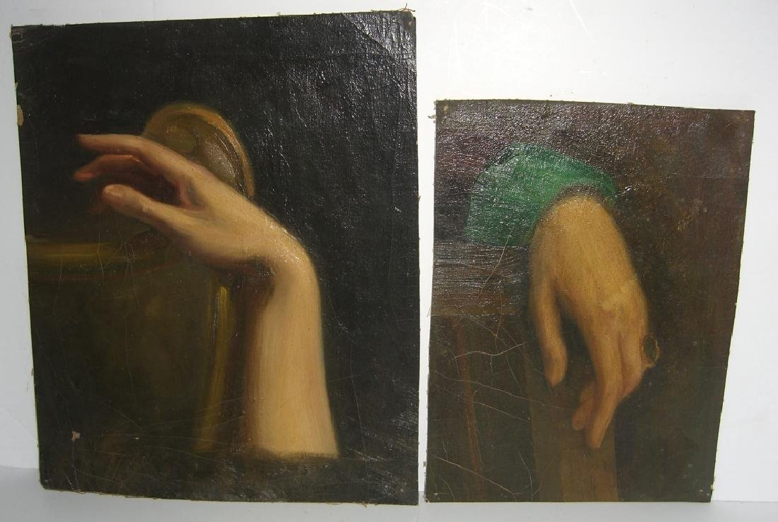 19th c. oil on canvas hand study paintings
