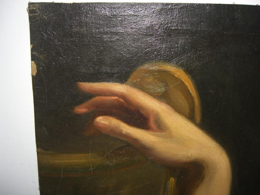 19th c. oil on canvas hand study paintings - 2