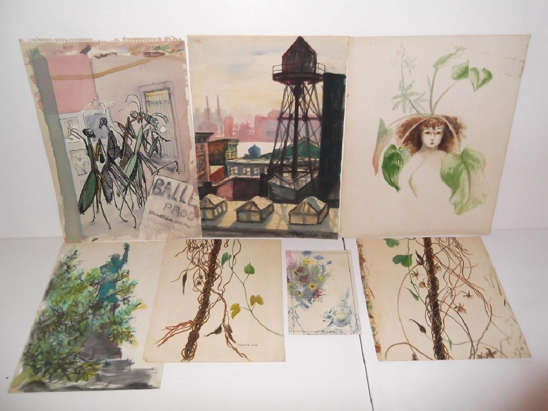 7 1950's watercolors by  Panttila