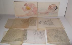 14 nude pencil/mixed media drawings