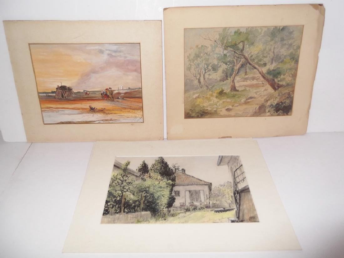 3 watercolor/mixed media landscape paintings
