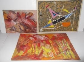 3 oil on board abstract paintings