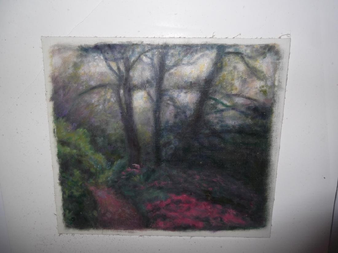 Mixed media wooded scene on canvas