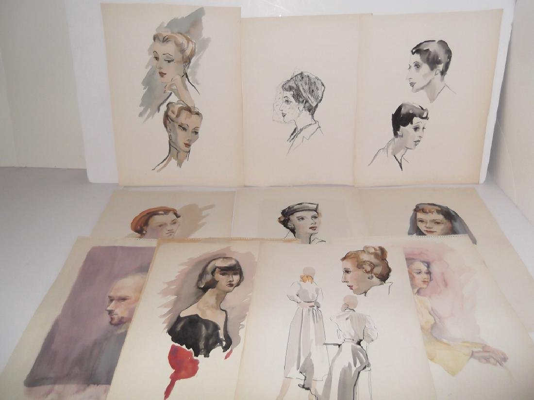 11 watercolor/mixed media women & male portraits