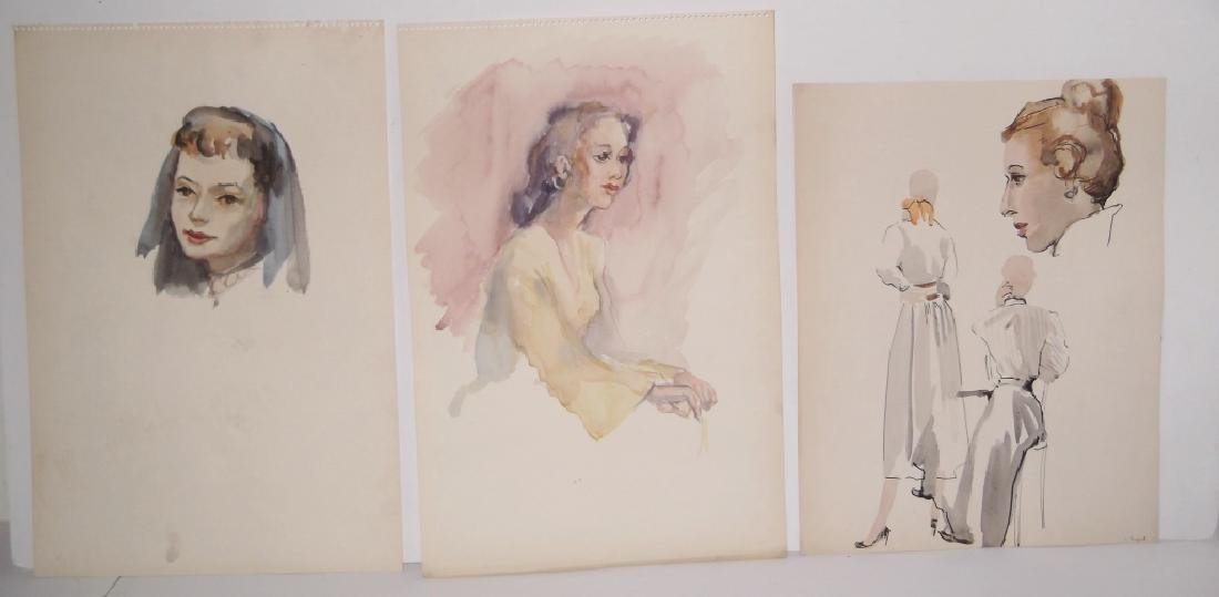 11 watercolor/mixed media women & male portraits - 2