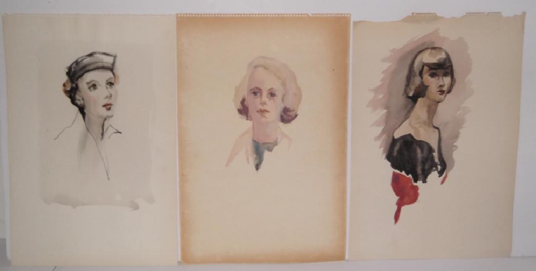 11 watercolor/mixed media women & male portraits - 3