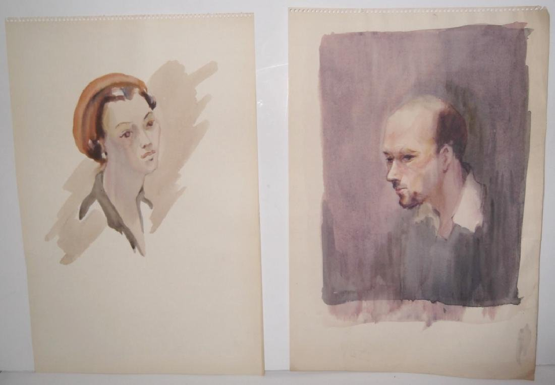 11 watercolor/mixed media women & male portraits - 4