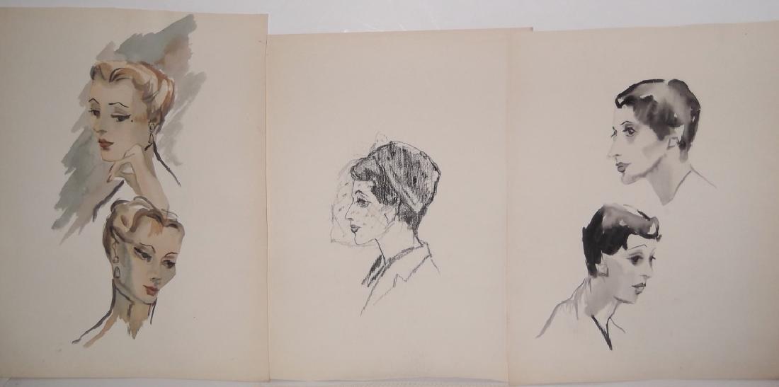 11 watercolor/mixed media women & male portraits - 5