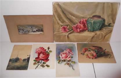 6 piece watercolor art work lot