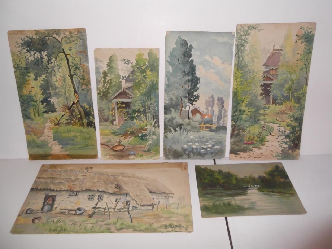 6 vintage original landscape view watercolors