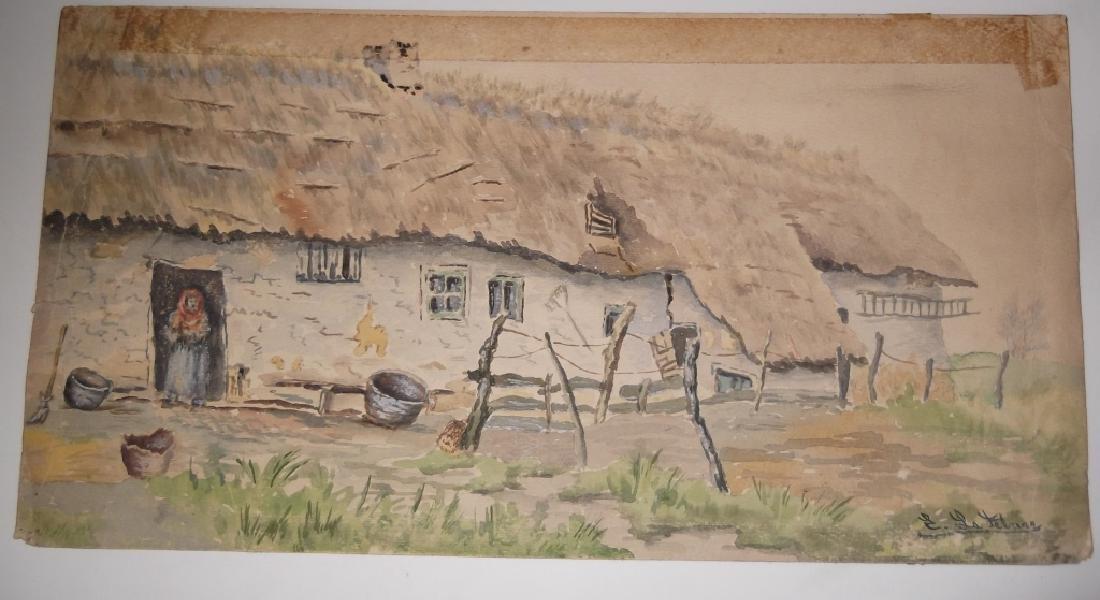6 vintage original landscape view watercolors - 3