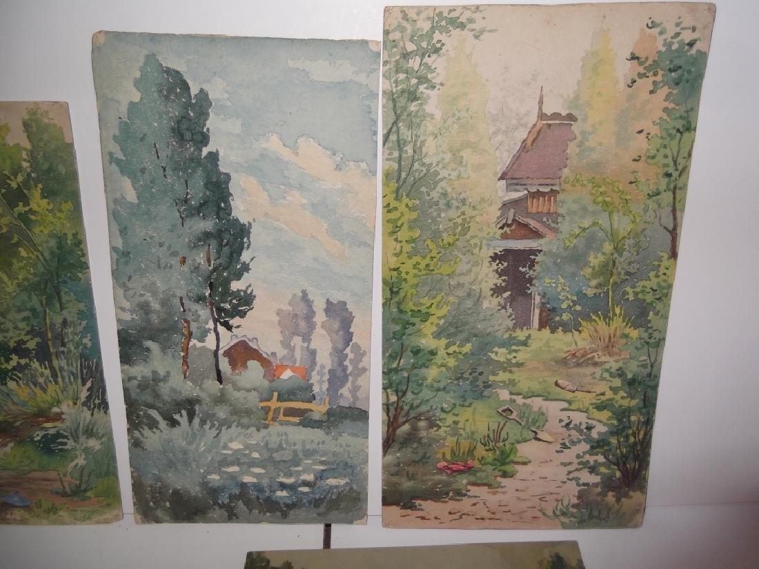 6 vintage original landscape view watercolors - 5
