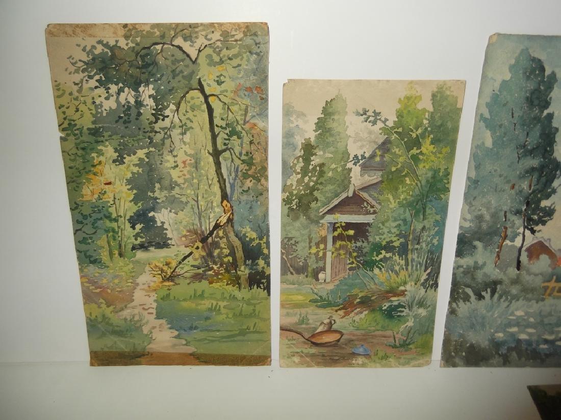 6 vintage original landscape view watercolors - 6