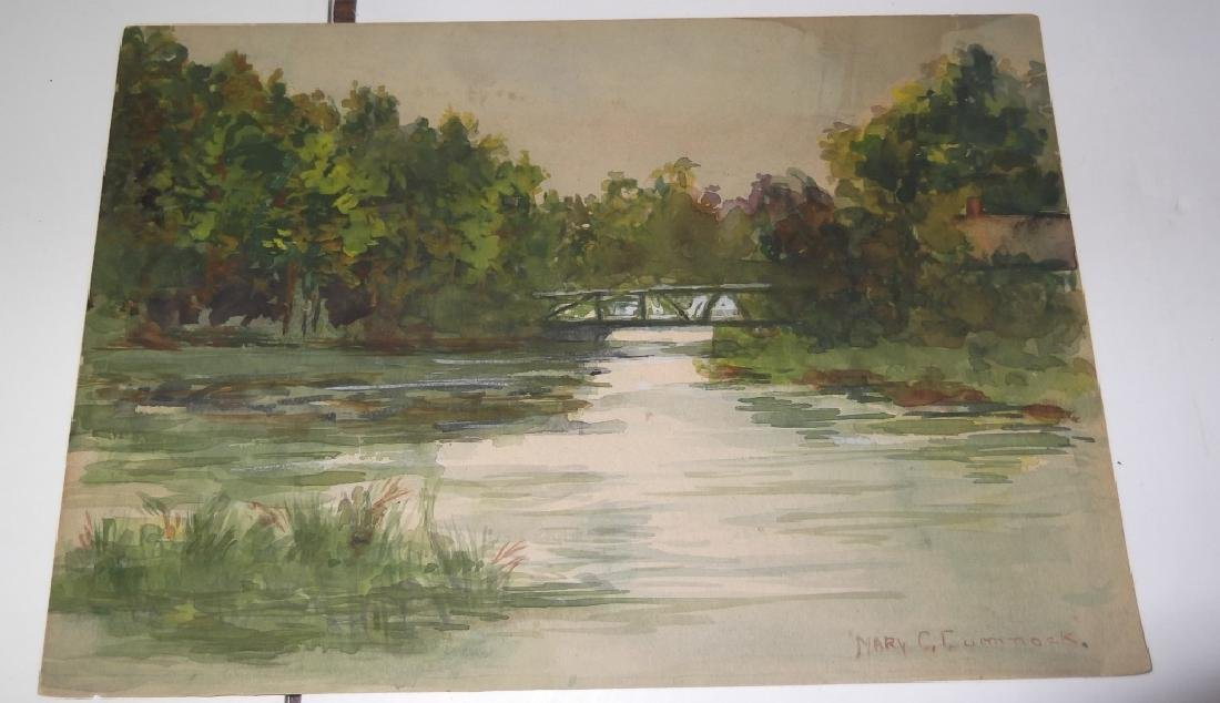 6 vintage original landscape view watercolors - 7