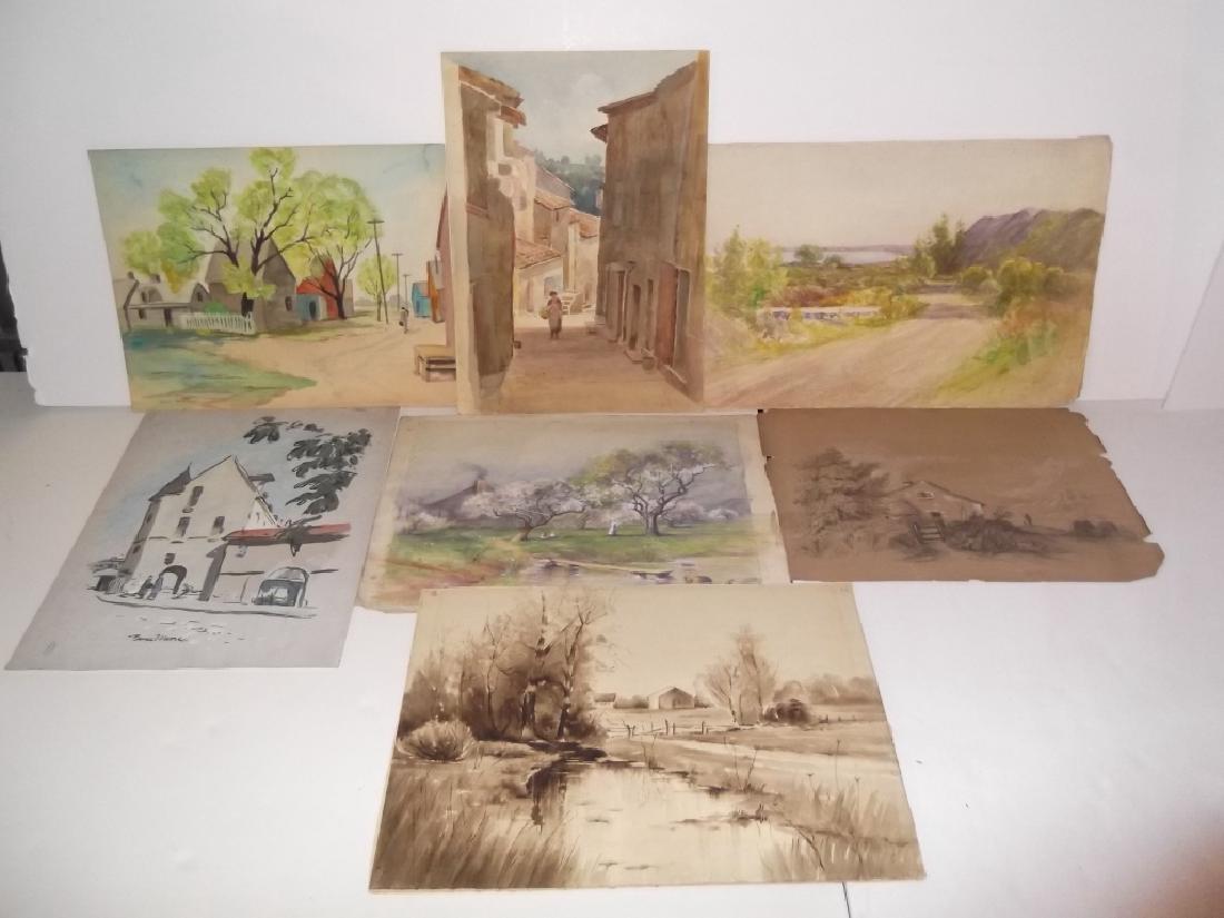 7 vintage original landscape view watercolors