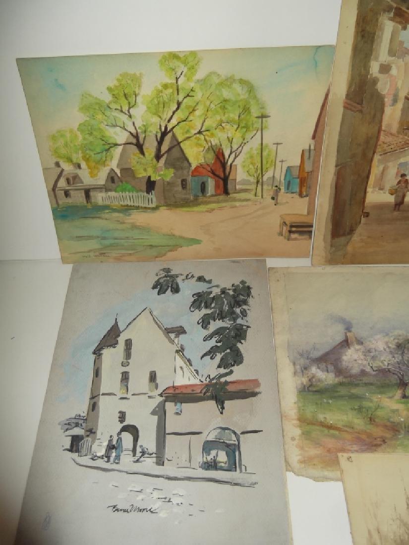 7 vintage original landscape view watercolors - 4