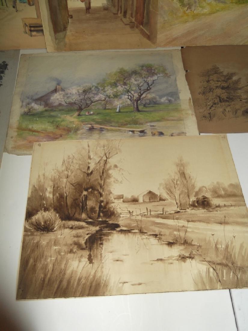 7 vintage original landscape view watercolors - 5