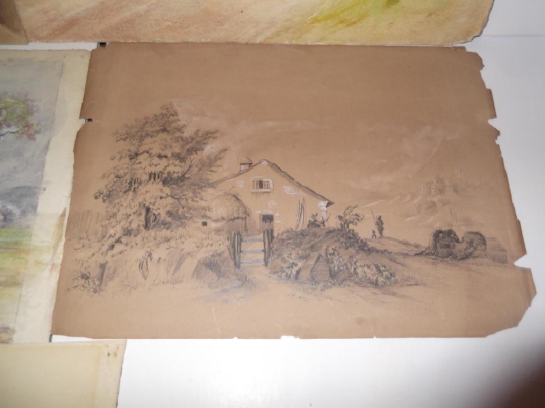 7 vintage original landscape view watercolors - 6