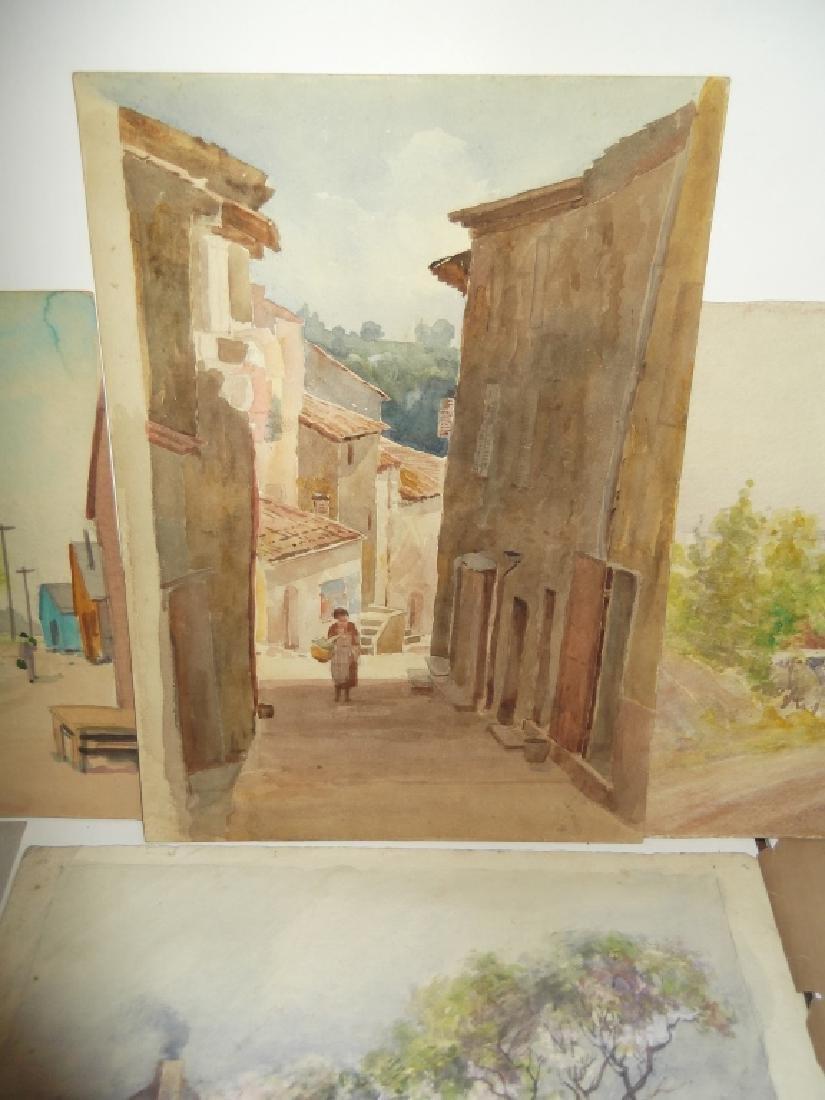 7 vintage original landscape view watercolors - 7