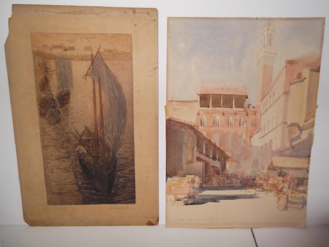 2 vintage watercolors