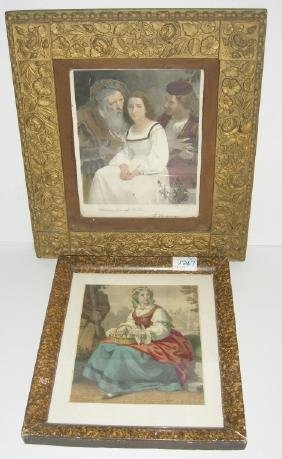 2 vintage prints in ornate frames