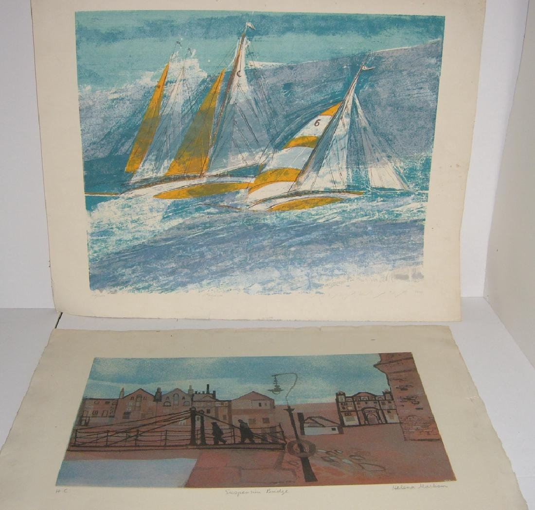 2 large  lithographs