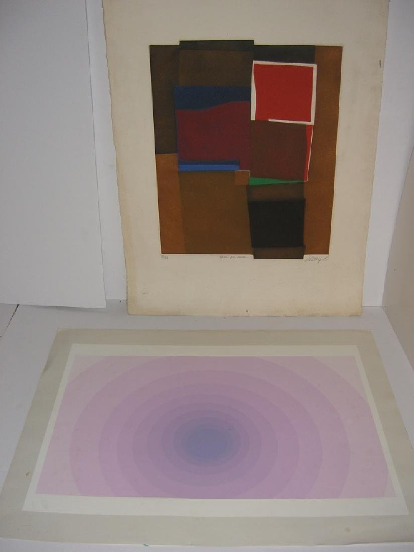 2 abstract lithographs