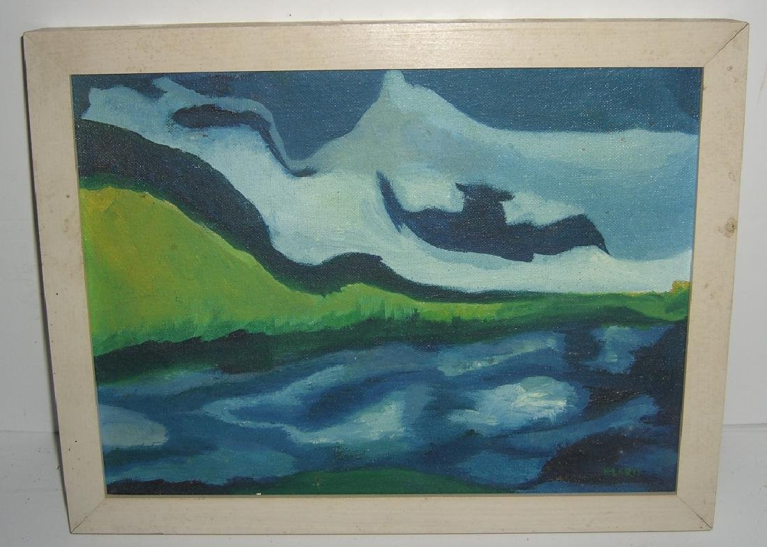 Oil on board  ocean & mountain scene