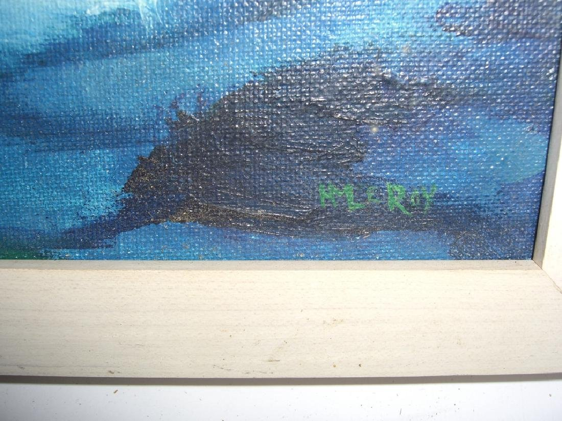 Oil on board  ocean & mountain scene - 2