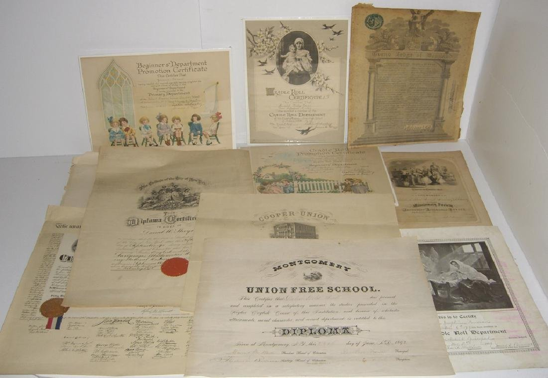 11 19th/20th c. certificates, documents & print
