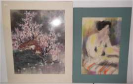 2 mixed media watercolor artwork lot