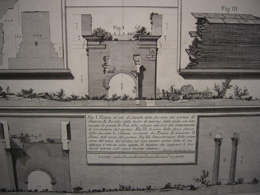 Large 19th c architecture diagram engraving - 2