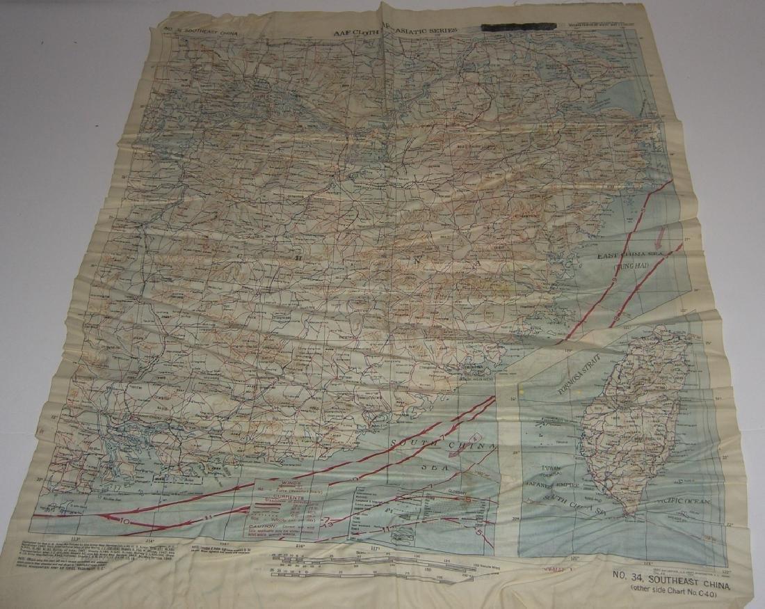 WWII Pilot Escape Survival map handkerchief map - 2